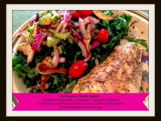 MARINATED MUSHROOMS, CUCUMBERS, TOMATOES, RADISHES OVER KALE AND A PAN-SEARED CHICKEN BREAST