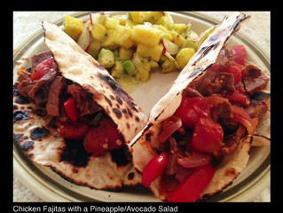 BEEF FAJITAS WITH A PINEAPPLE/AVOCADO SALAD