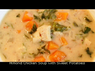 ALMOND CHICKEN SOUP WITH SWEET POTATO, KALE, & GINGER