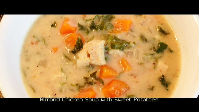 ALMOND CHICKEN SOUP WITH SWEET POTATO, KALE, & GINGER | Living Your Best Healthy Life