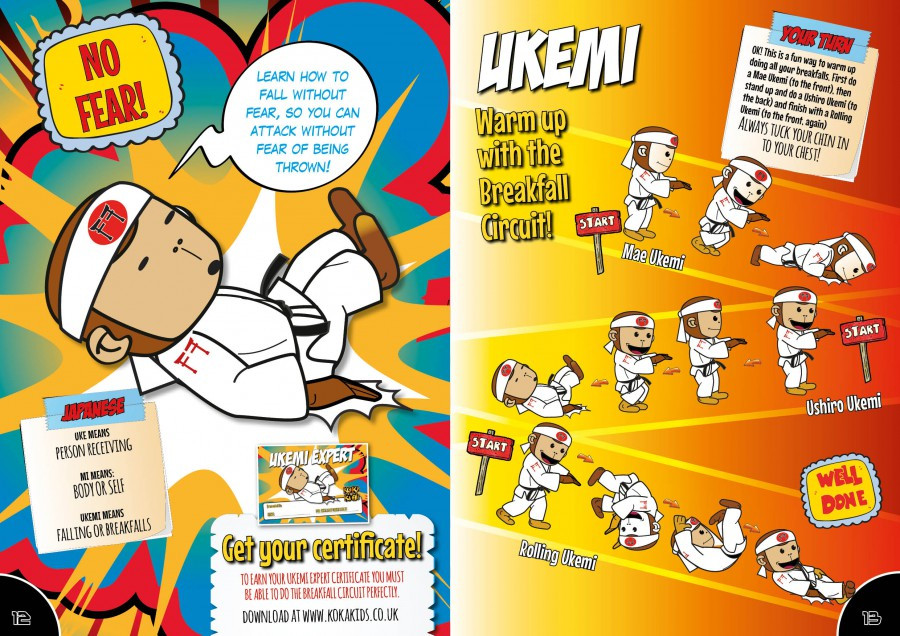 "Cartoon monkey with a speech bubble saying ""Learn how to fall, so you can attack without fear of being thrown."" The right hand side heading says ""Ukemi. Warm up with the breakfall circuit."" Several picutres of the monkey falling forwards, then backwards, then rolling."""