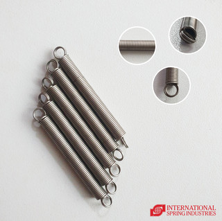 Tension Spring Material: stainless steel 304 Wire diameter: 0.70 mm Outer diameter: 6.00 mm Body length: 46.15 mm Overall length: 58.35 mm Hook type: double full loop over center