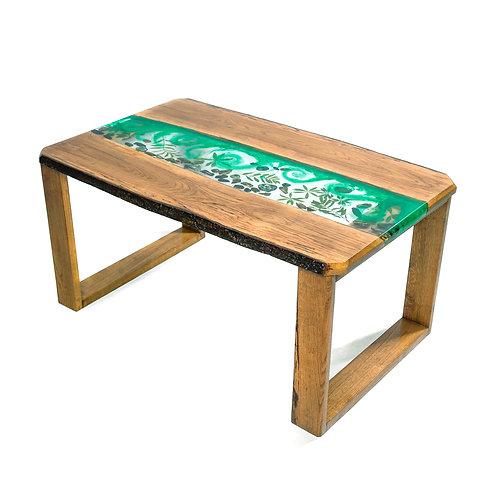 Riečny stôl zo živice - zelený