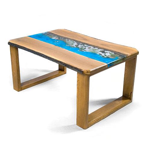 Riečny stôl zo živice - modrý, s kôrou po bokoch