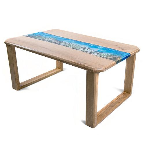 Riečny stôl zo živice - rovné boky