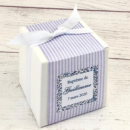 Cube de dragées Rayures et Liberty (couleurs au choix)