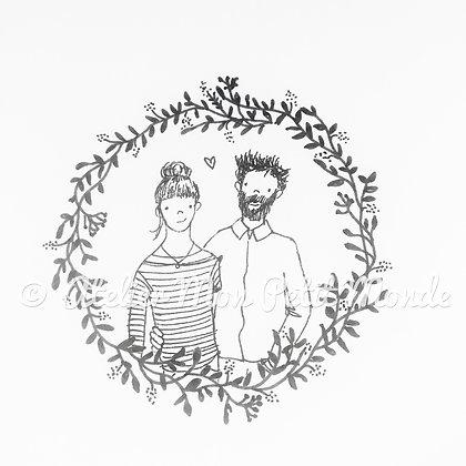 Illustration Portrait de couple noir et blanc