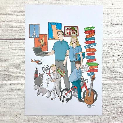 Illustration Portrait de famille avec détails personnalisés