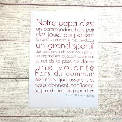 Affiche Papa sur mesure