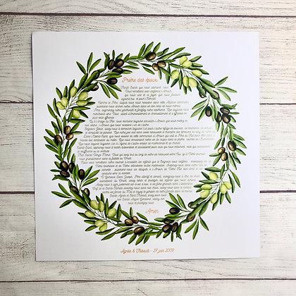 Affiche Prière des époux Couronne d'olivier