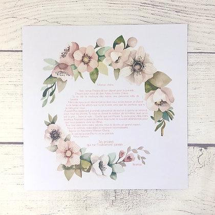 Affiche Prière des époux Couronne de fleurs roses
