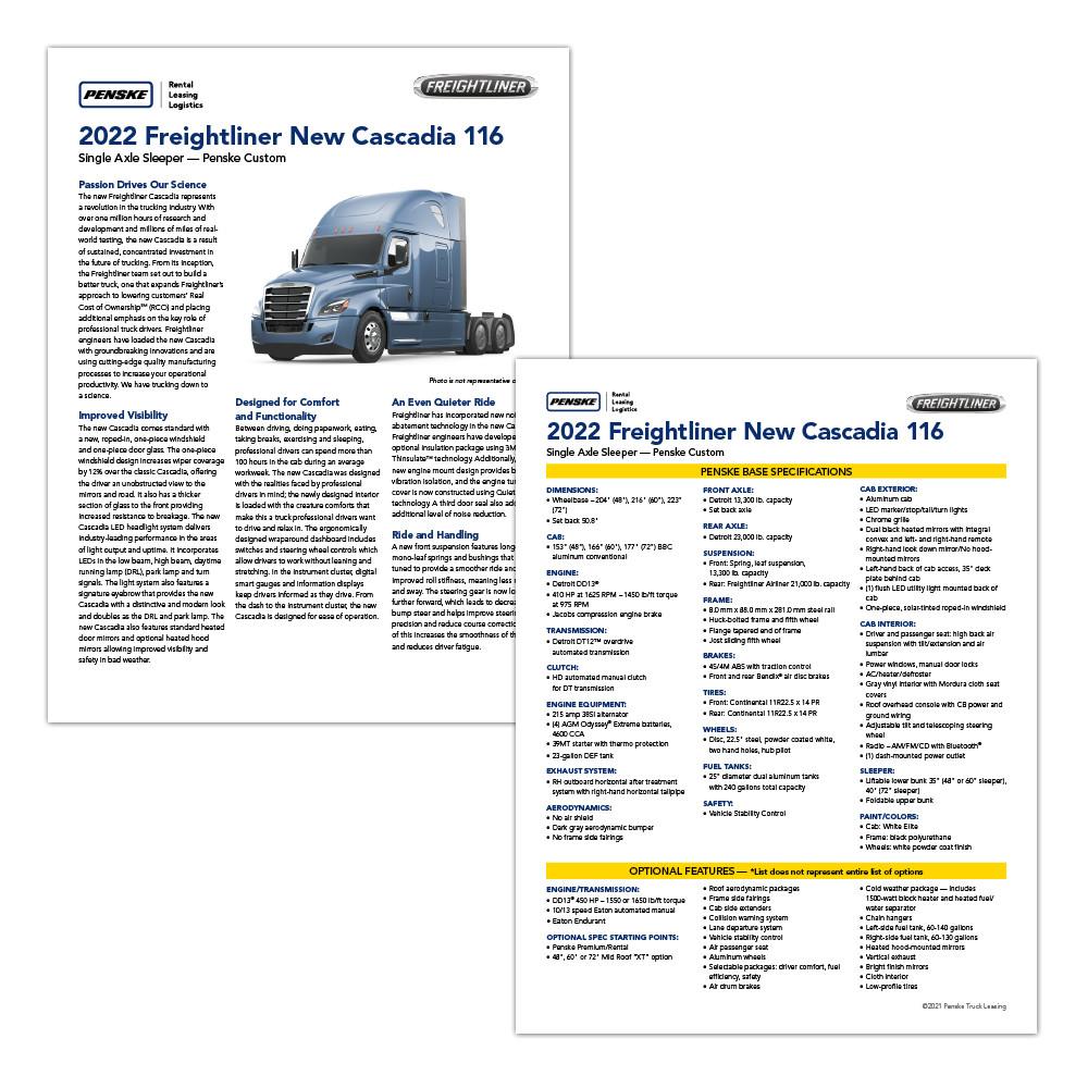 Truck sales spec sheet