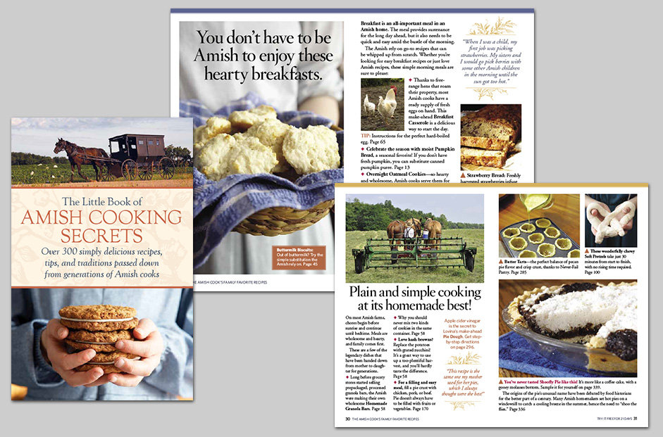 Direct mail promotion for The Amish Cook's Family Favorites book