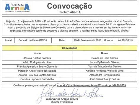 Convocação para ELEIÇÃO 2019!