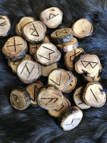 24 Set of Runes-Elder Futhark- Carved on Oak