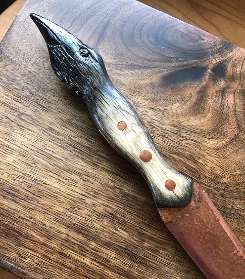 Carved Raven & Copper Athame