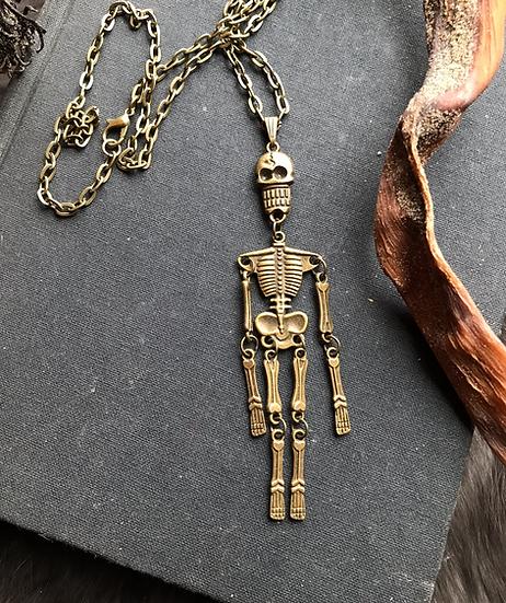 Hinged Dancing Skeleton Necklace