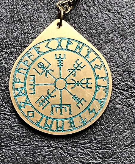 Rune & Vegvisir in Brass ~Talisman on Chain