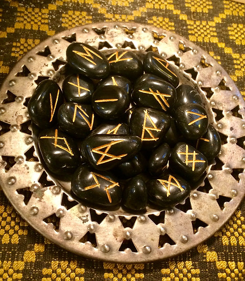 Rune set of 24 engraved in Black Agate -Elder Futhark