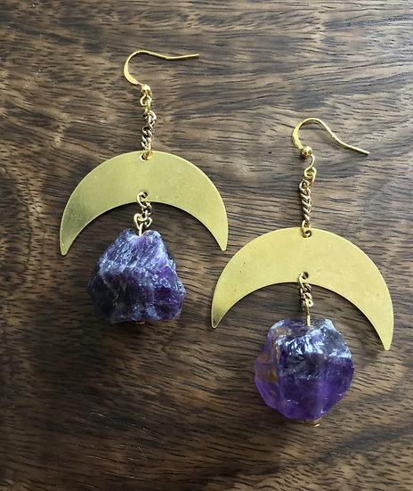 Amethyst Lunar Earrings