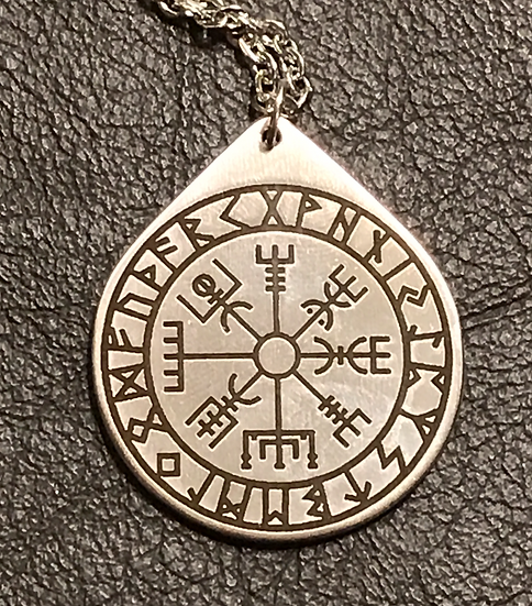 Vegvisir Rune Medallion Pendant on Chain