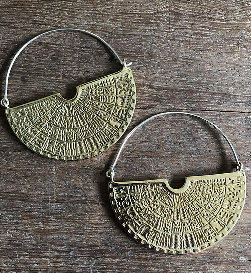 Egyptian Hieroglyphic Brass Earrings