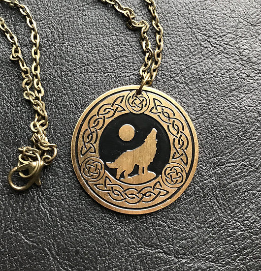 Norse Wolf in Brass ~Talisman on Chain