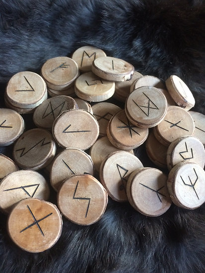 24 Set of Runes Carved on Birch