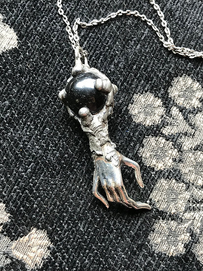 Obsidian & Hand of Fate Necklace