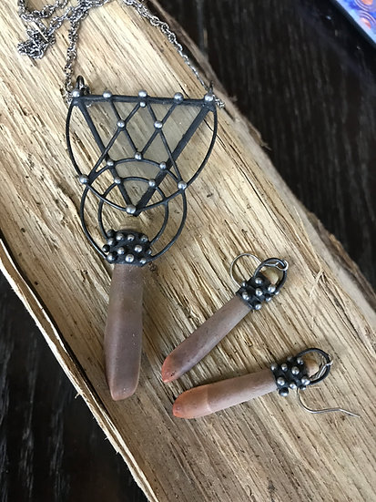 Urchin, Glass and Steel Necklace & Earring Set