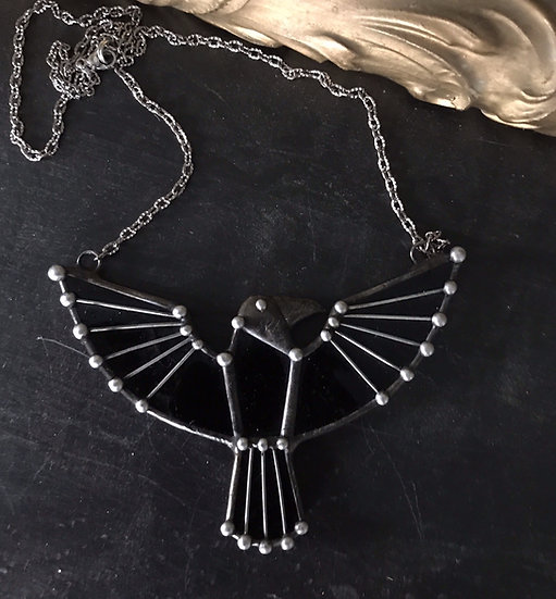 Raven Crafted from Glass~ Unique Necklace