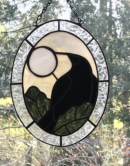 Beautifully Crafted Crow Stained Glass
