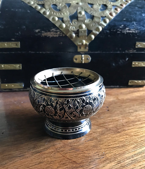 Gold Etched Incense Dish