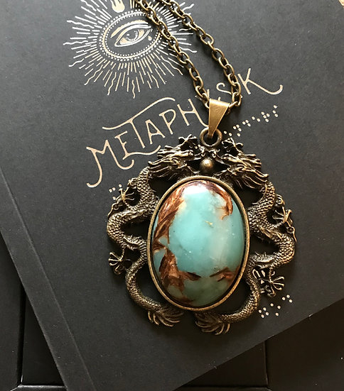 Copper & Stone Dragon Necklace