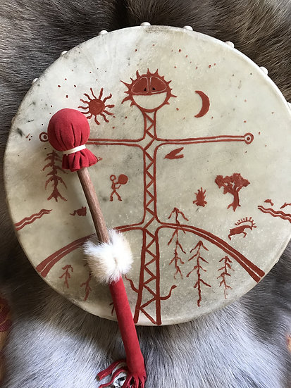 """15"""" Drum- Red Stag Deer on Cedar"""