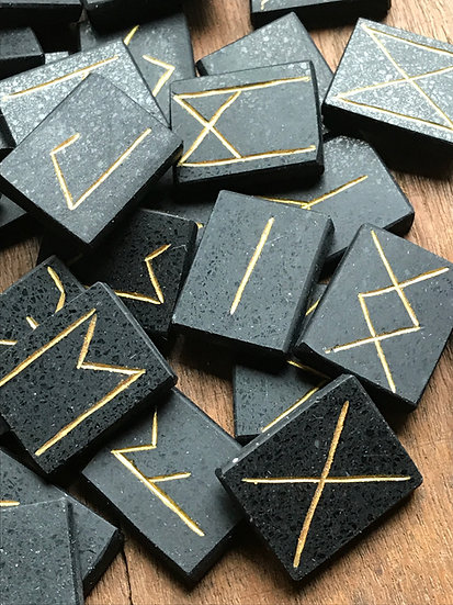 Custom set of 33 Runes ~Engraved in Black Basalt
