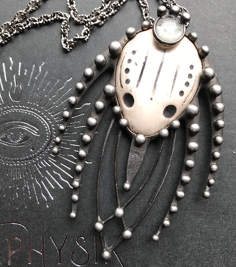 """Predator"" Moonstone & Ceramic Pendant Necklace"
