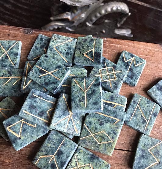 Custom set of 33 Runes ~Engraved in Serpentine