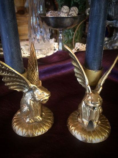 Gargoyle Candlestick Holders in Brass