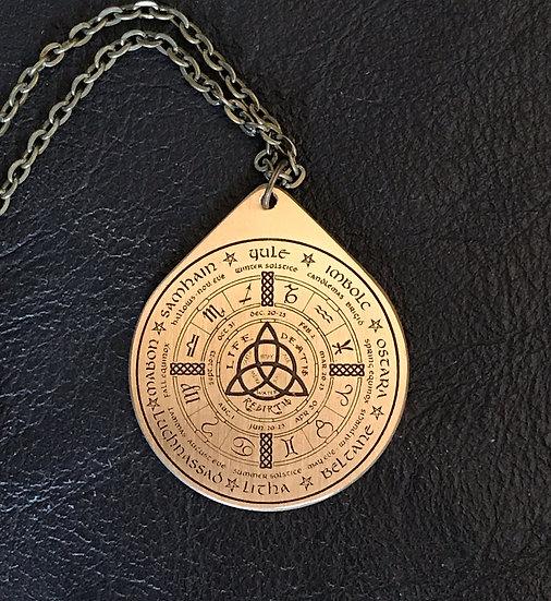 Wheel of the Year ~Brass Talisman on Chain