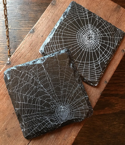 Actual Spider Web on Slate~ Coasters