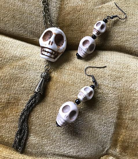 Howlite Skull Pendant Necklace & Earrings