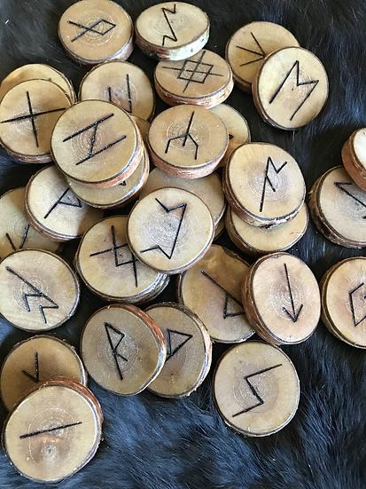 "Set of 33 Runes Carved in Birch 1  1/4"""