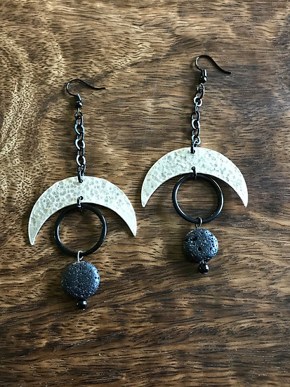 Lava Stone Lunar Earrings