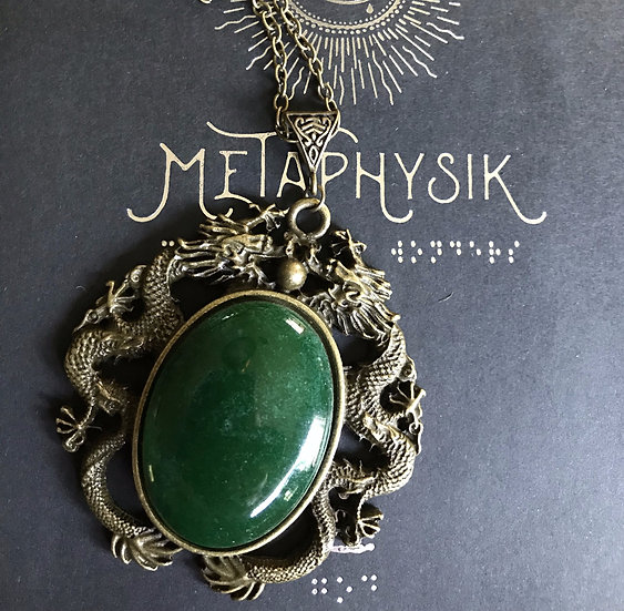Green Agate Dragon Necklace