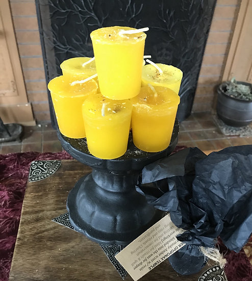 Amber Temple Votive Candle