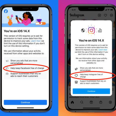 "Facebook and Instagram Encourage iOS 14.5 Users to Enable Tracking So Their Apps Can Remain ""Free"""