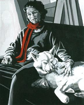"""Woman with Dog"" (Painting in Gouache)"