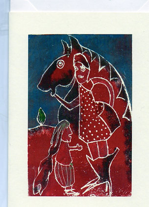 "Greeting Card (Blank) ""Woman with Horse"""