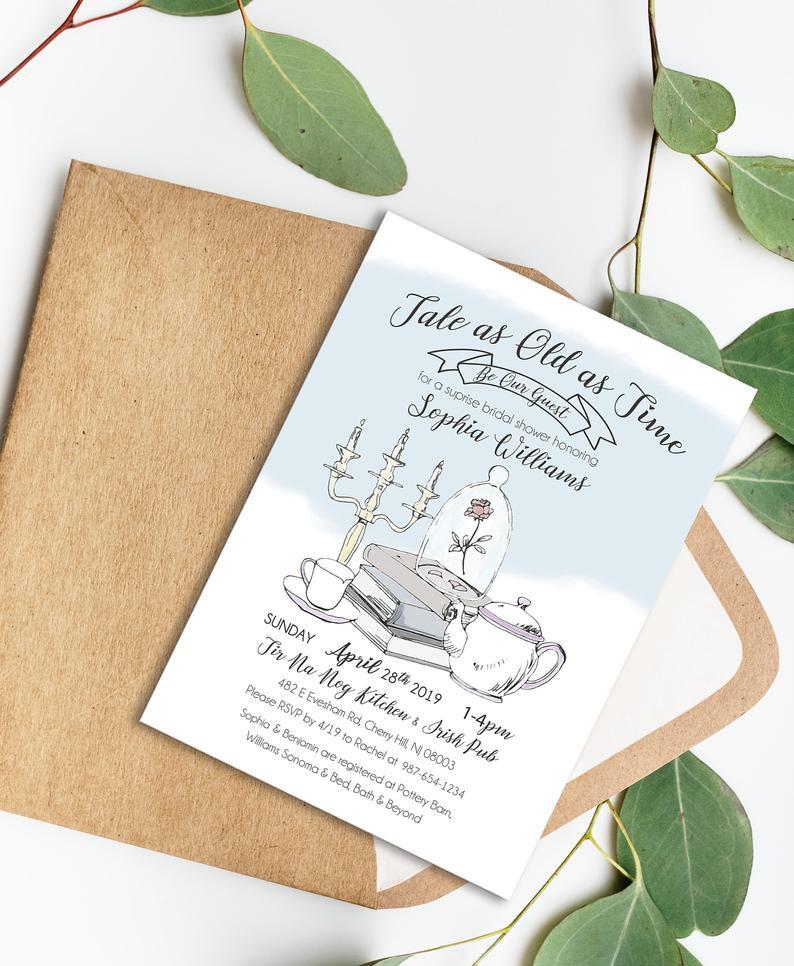 Beauty And The Beast Bridal Shower Invitations | Shilohmidwifery.com